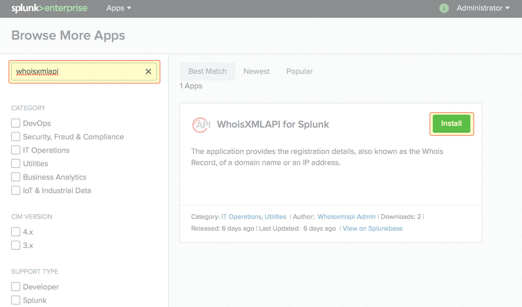 WHOIS API Splunk application tutorial
